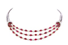 Ella Gafter Ruby and Diamond Multi strand White and Yellow Gold Necklace