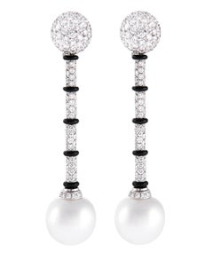 Ella Gafter White South Sea Pearl Onyx and Diamond White Gold Drop Earrings