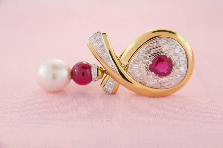 Ella Gafter Ruby Pearl Diamond Bow Brooch Pin For Sale 2