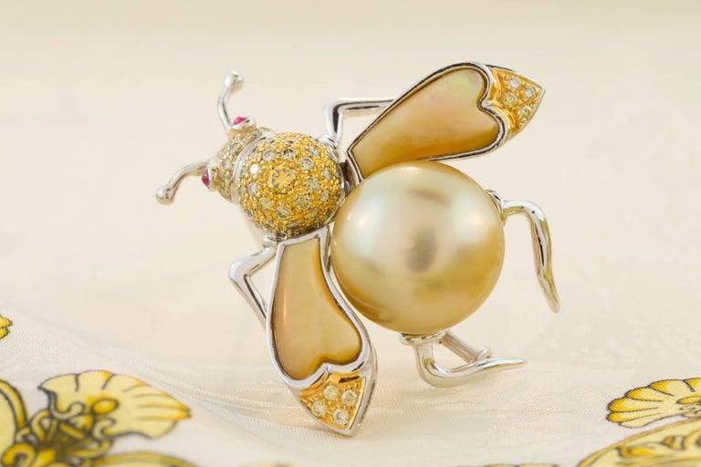 Ella Gafter Golden Pearl Fancy Color Diamonds Bee Brooch Pin For Sale 3