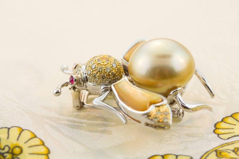 Ella Gafter Golden Pearl Fancy Color Diamonds Bee Brooch Pin For Sale 4