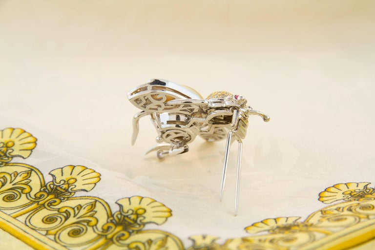 Ella Gafter Golden Pearl Fancy Color Diamonds Bee Brooch Pin For Sale 2