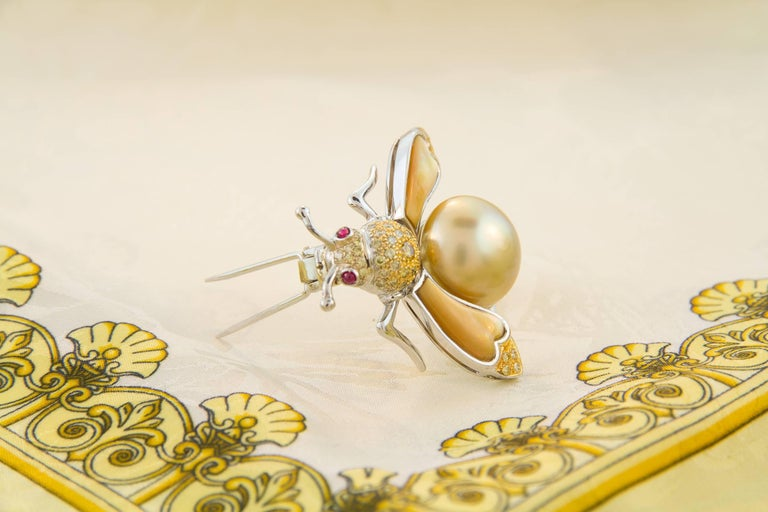 Ella Gafter Golden Pearl Fancy Color Diamonds Bee Brooch Pin For Sale 1