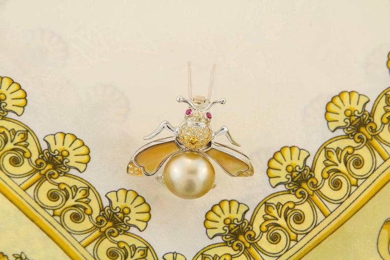 Women's or Men's Ella Gafter Golden Pearl Fancy Color Diamonds Bee Brooch Pin For Sale