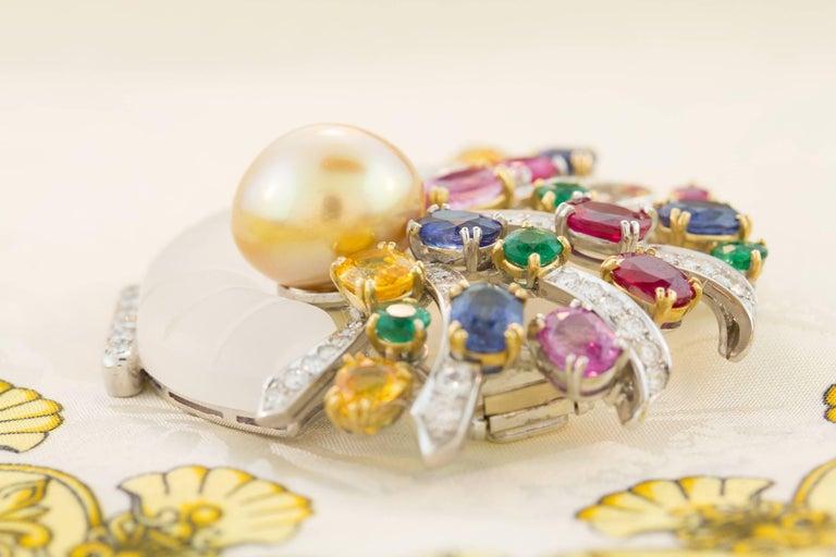 Ella Gafter Sapphire Ruby Emerald Pearl Diamond Flower Basket Brooch Pin For Sale 4