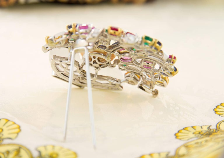 Ella Gafter Sapphire Ruby Emerald Pearl Diamond Flower Basket Brooch Pin For Sale 2