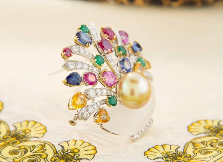 Ella Gafter Sapphire Ruby Emerald Pearl Diamond Flower Basket Brooch Pin For Sale 1