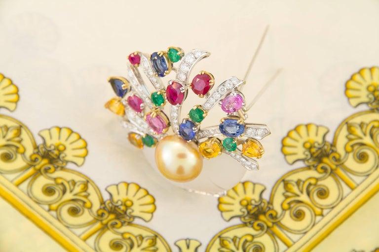 Women's Ella Gafter Sapphire Ruby Emerald Pearl Diamond Flower Basket Brooch Pin For Sale