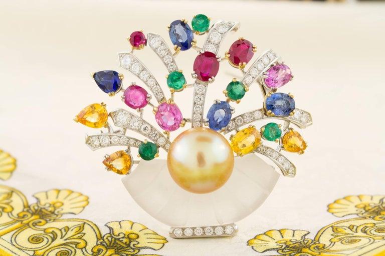 Ella Gafter Sapphire Ruby Emerald Pearl Diamond Flower Basket Brooch Pin For Sale 3