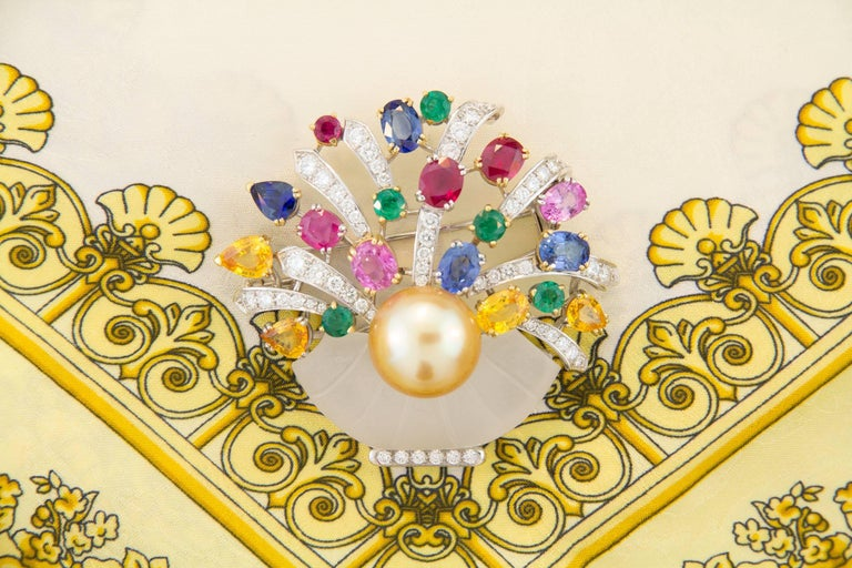 Ella Gafter Sapphire Ruby Emerald Pearl Diamond Flower Basket Brooch Pin In As New Condition For Sale In New York, NY