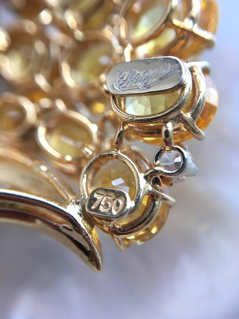 Ella Gafter Cornucopia Sapphire Diamond Brooch Pin For Sale 5