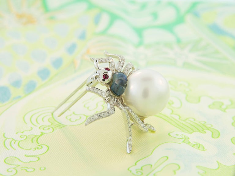 Ella Gafter South Sea Pearl and Diamond Spider Brooch Pin For Sale 2