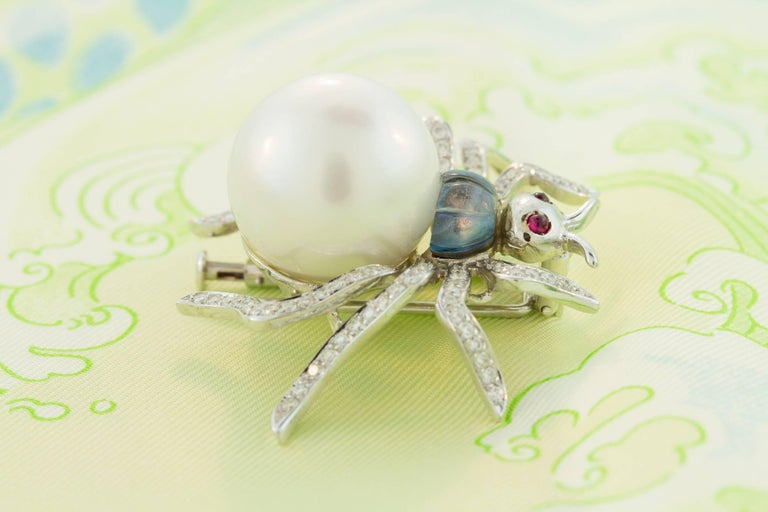 Ella Gafter South Sea Pearl and Diamond Spider Brooch Pin For Sale 5
