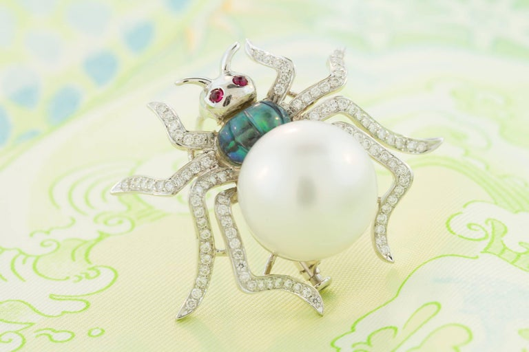 Ella Gafter South Sea Pearl and Diamond Spider Brooch Pin For Sale 4