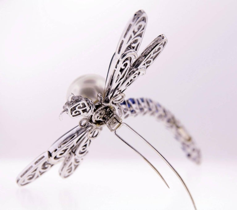 Ella Gafter Sapphire Diamond Pearl Dragonfly Brooch Pin For Sale 5