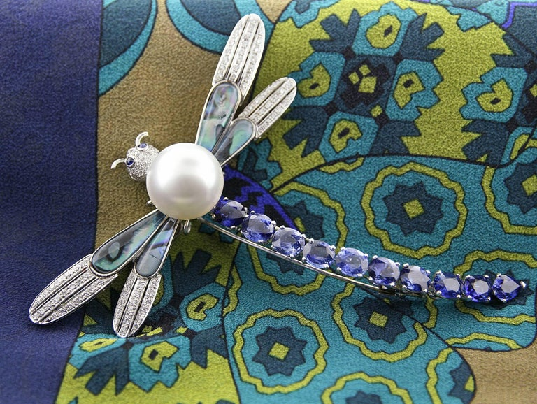 Ella Gafter Sapphire Diamond Pearl Dragonfly Brooch Pin For Sale 6