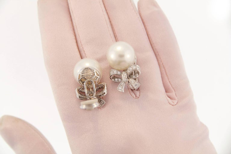Ella Gafter White South Sea Pearl and Diamond White Gold Bow Clip Earrings 3