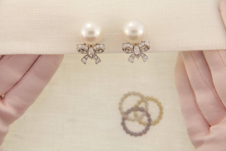 Ella Gafter White South Sea Pearl and Diamond White Gold Bow Clip Earrings 7