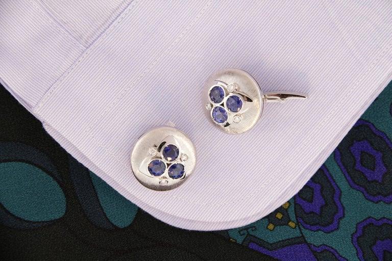 Artist Ella Gafter Blue Sapphire Diamond Cufflinks  For Sale
