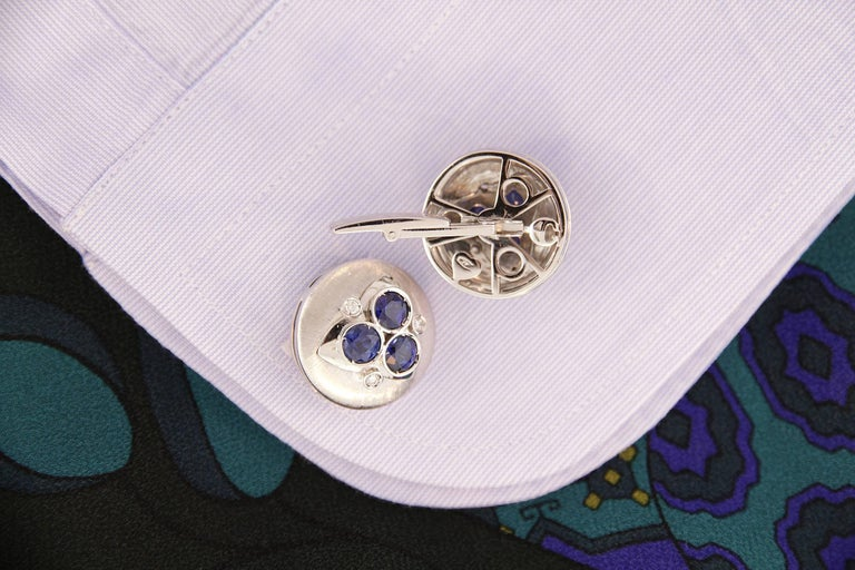Round Cut Ella Gafter Blue Sapphire Diamond Cufflinks  For Sale