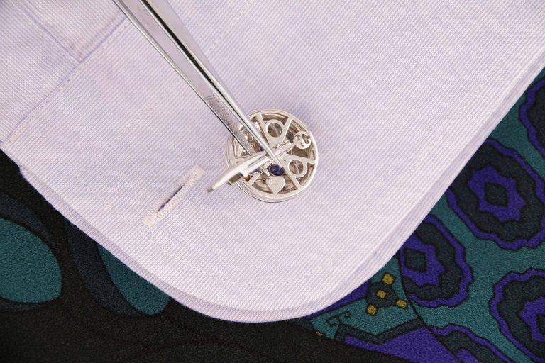 Ella Gafter Blue Sapphire Diamond Cufflinks  In New Condition For Sale In New York, NY