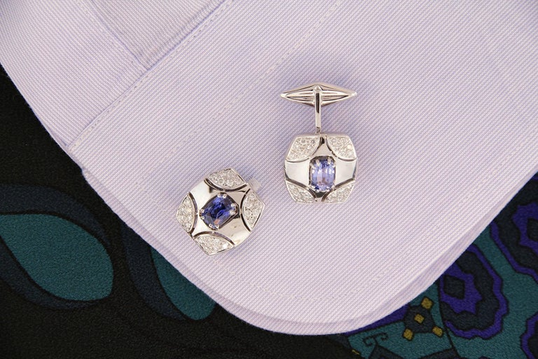 Artist Ella Gafter White Gold Sapphire Diamond Cufflinks  For Sale