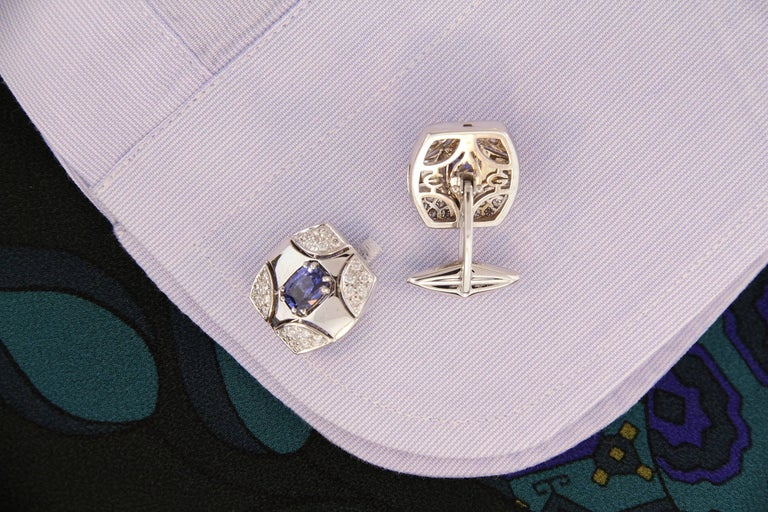 Oval Cut Ella Gafter White Gold Sapphire Diamond Cufflinks  For Sale