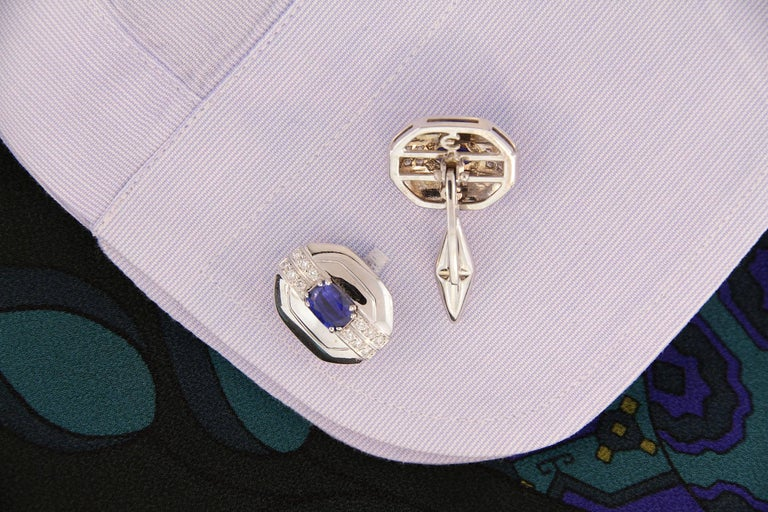 Women's or Men's Ella Gafter Blue Sapphire and Diamond Cufflinks White Gold For Sale