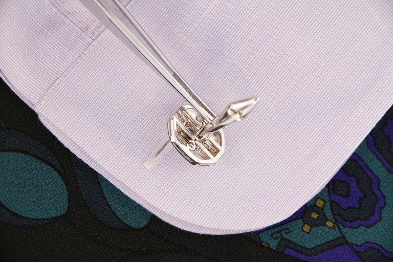 Ella Gafter Blue Sapphire and Diamond Cufflinks White Gold For Sale 2