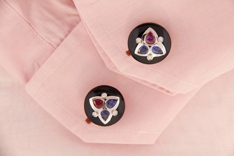 Artist Ella Gafter Ruby Sapphire Cufflinks  For Sale