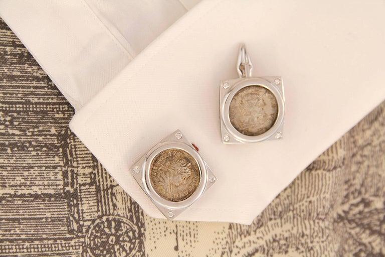Artist Ella Gafter White Gold Silver Coin Cufflinks  For Sale