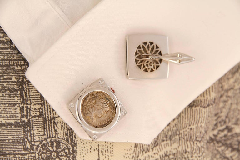 Round Cut Ella Gafter White Gold Silver Coin Cufflinks  For Sale