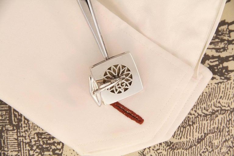 Men's Ella Gafter White Gold Silver Coin Cufflinks  For Sale