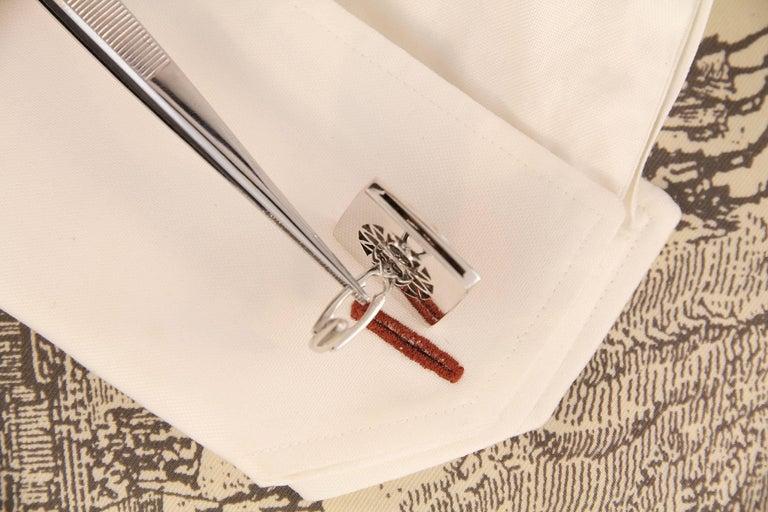 Ella Gafter White Gold Silver Coin Cufflinks  For Sale 1