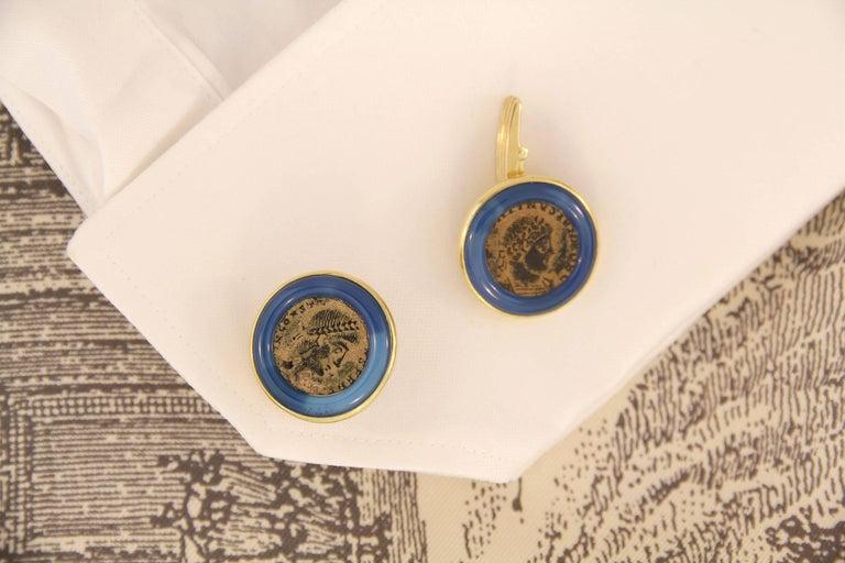 Artist Ella Gafter Yellow Gold Coin Cufflinks  For Sale