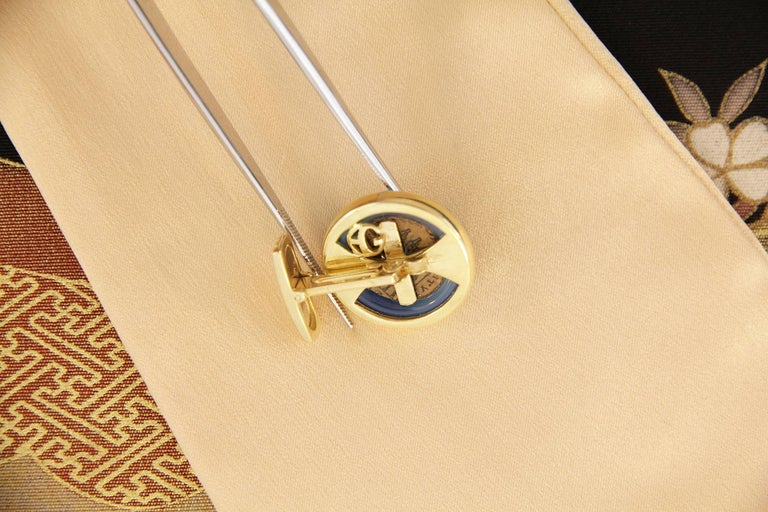 Men's Ella Gafter Yellow Gold Coin Cufflinks  For Sale