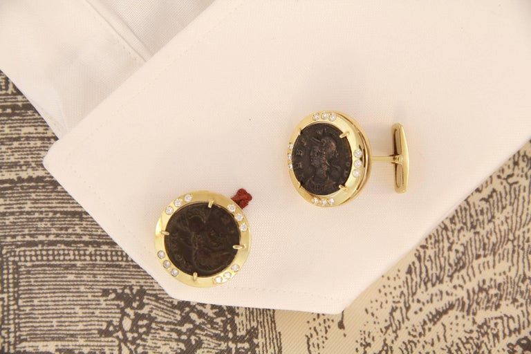 Artist Ella Gafter Diamond Copper Coin Cufflinks  For Sale