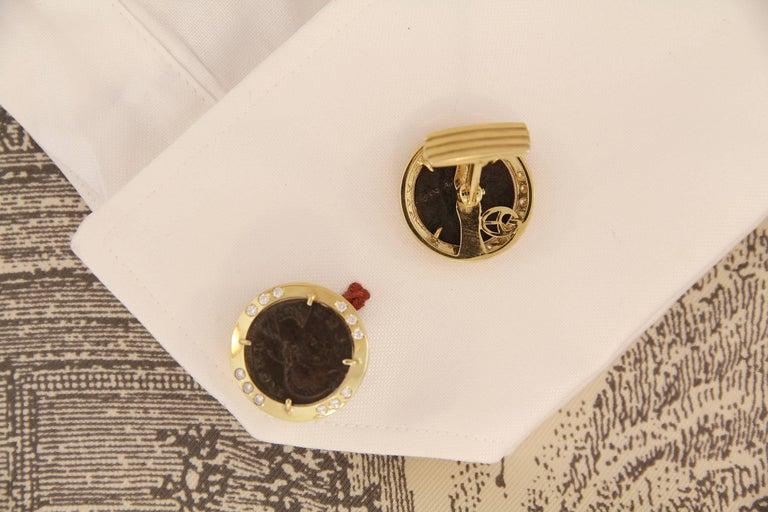 Round Cut Ella Gafter Diamond Copper Coin Cufflinks  For Sale