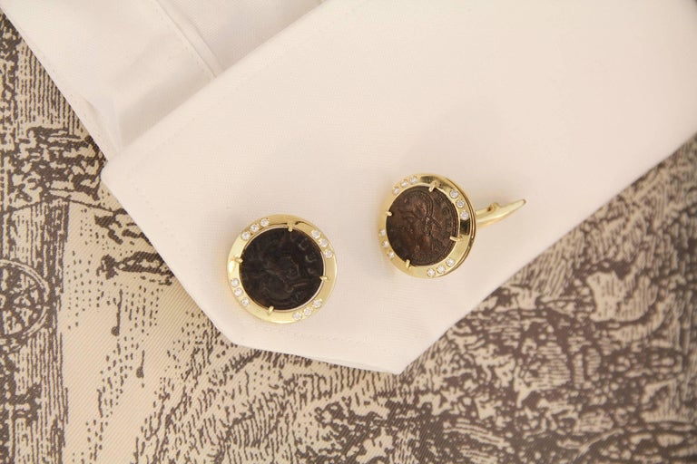 Ella Gafter Diamond Copper Coin Cufflinks  In New Condition For Sale In New York, NY