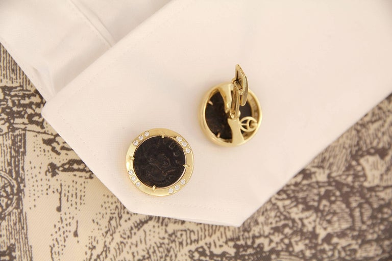 Men's Ella Gafter Diamond Copper Coin Cufflinks  For Sale