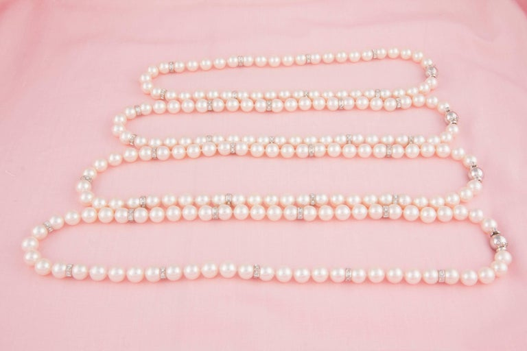 Ella Gafter Four Strand Japanese Pearl and Diamond Necklace In New Condition For Sale In New York, NY