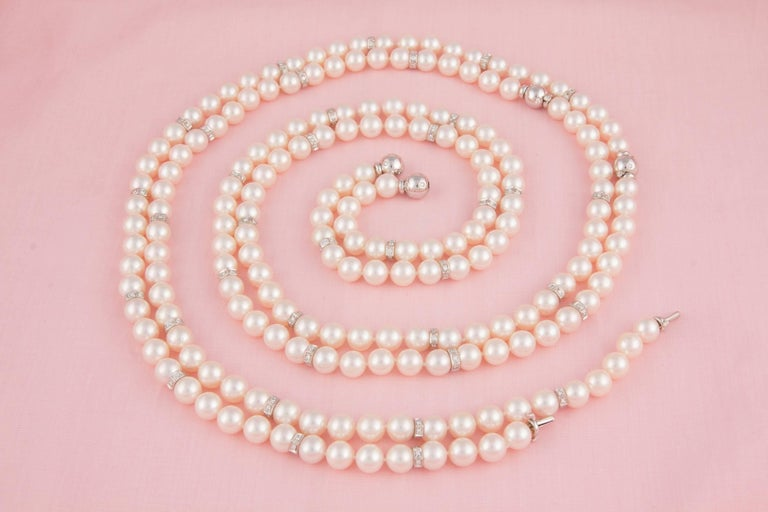 Ella Gafter Four Strand Japanese Pearl and Diamond Necklace For Sale 1