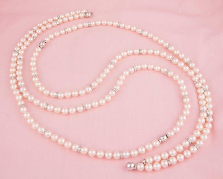 Ella Gafter Four Strand Japanese Pearl and Diamond Necklace For Sale 2