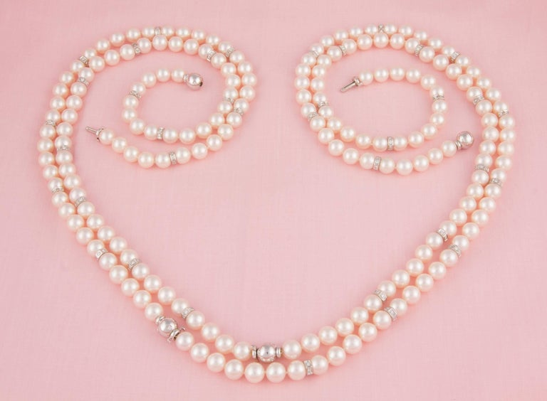Ella Gafter Four Strand Japanese Pearl and Diamond Necklace For Sale 3