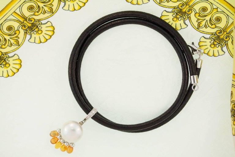 Ella Gafter South Sea Pearl Sapphire Diamond Pendant Necklace For Sale 1
