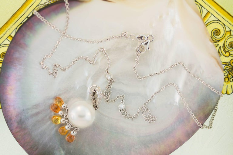 Women's Ella Gafter South Sea Pearl Sapphire Diamond Pendant Necklace For Sale