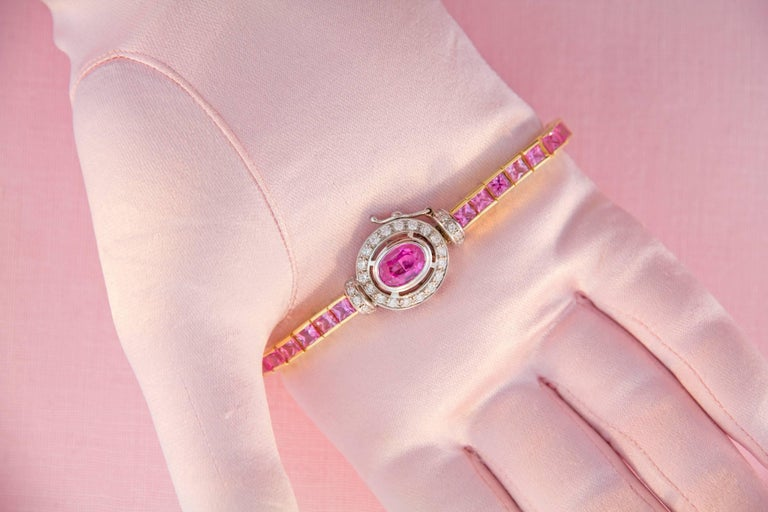 Women's Ella Gafter Pink Sapphire and Diamonds Flexible Gold Tennis Bracelet For Sale
