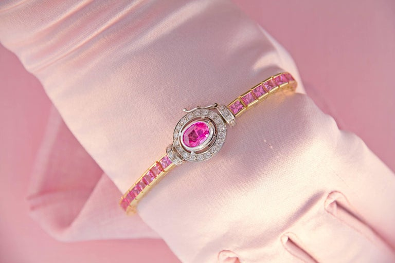 Ella Gafter Pink Sapphire and Diamonds Flexible Gold Tennis Bracelet For Sale 1