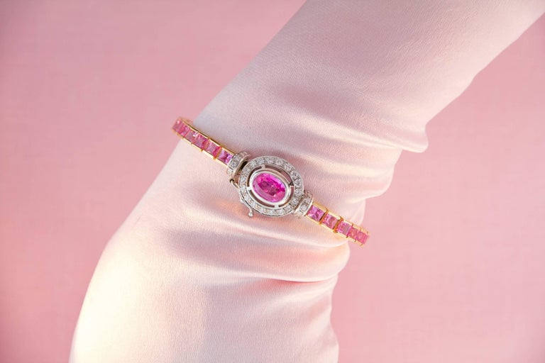 Ella Gafter Pink Sapphire and Diamonds Flexible Gold Tennis Bracelet For Sale 2