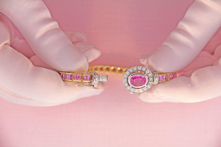 Ella Gafter Pink Sapphire and Diamonds Flexible Gold Tennis Bracelet For Sale 4